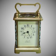 A Shreve & Co. SF Carriage Clock With Fitted Case