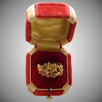 An 18K French Victorian Figural Dragon Ring