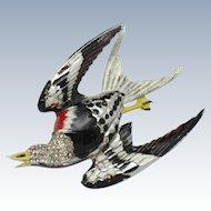 CORO Large 1930's Bird Brooch Enamel Rhinestone Pin RARE Adolph Katz