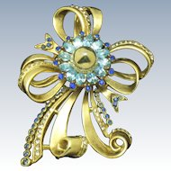 """Vintage REINAD Ribbon Bow Pin Brooch Gold Plated Rhinestone Large 3"""""""
