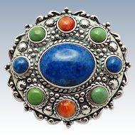CAROLYN POLLACK Relios Sterling Silver Gemstone Brooch  & Pendant