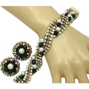 HOBE Rhinestone Crystal Faux Pearl Bracelet and Earrings Set