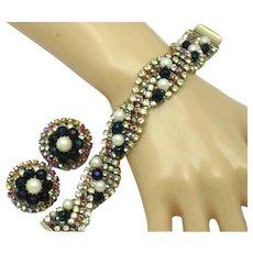 HOBE Rhinestone Crystal Faux Pearl Bracelet and Earrings Set