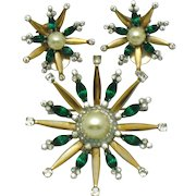 MAZER STERLING 1940s Snowflake Brooch and Earrings Set