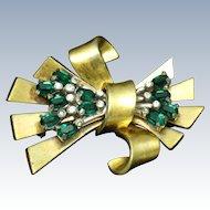 Vintage PENNINO Emerald Green Crystal Rhinestone Bow Ribbon Brooch