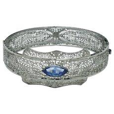 OSTBY BARTON Sterling Filigree Art Deco Sapphire Paste Bracelet Circa 1920s
