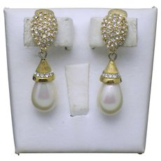 Vintage CHRISTIAN DIOR Crystal Simulated Pearl Dangle Earrings