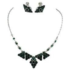 Signed BOGOFF Emerald Green Rhinestone Necklace Earrings SET