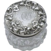 Antique Sterling Silver Cut Crystal Repousse Dresser Jar Signed