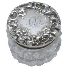 Antique Sterling Silver Cut Crystal Repousse Dresser Jar Signed