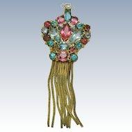 ORIGINAL By ROBERT Wireworks Rhinestone Tassel Brooch Pendant