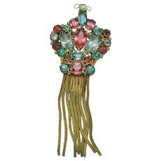 ORIGINAL By ROBERT Wireworks Rhinestone Tassel Brooch Pendant