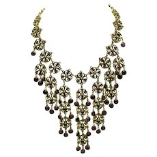 GOLDETTE Gold Plated Amethyst Glass Waterfall Bib Necklace