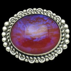800 Silver Art Deco Mexican Glass Fire Opal Brooch Pin - Red Tag Sale Item
