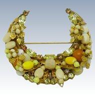 ORIGINAL By ROBERT  Rhinestone Glass Beaded Crescent Moon Horseshoe Brooch Pin