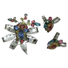 Original By Robert STERLING Rhinestone Brooch Earrings Set