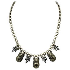 EGYPTIAN REVIVAL Gold Plated Scarab Choker Necklace