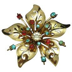 Coro Craft COROCRAFT Sterling  Flower Brooch Pin