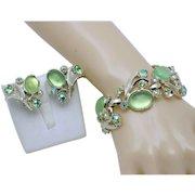 Signed Vintage SELRO Green Glass Cabochon Bracelet Earring SET