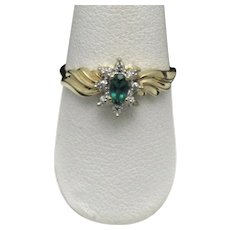 10K Yellow Gold Ladies Synthetic Emerald Ring 4 Genuine Diamonds Signed