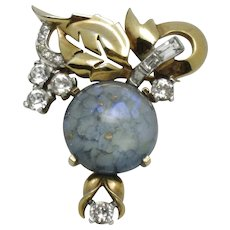 Signed MAZER BROS Art Glass Cabochon Rhinestone Pin Brooch