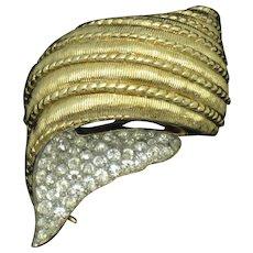 Vintage JOMAZ Mazer Gold Plated Rhinestone Seashell Figural Brooch Pin