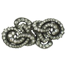 FRENCH Depose Made in France  Rhinestone Duette Brooch Dress Clips