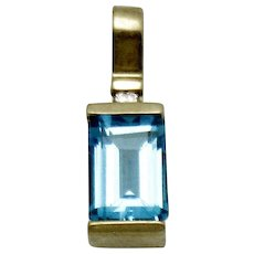 Vintage European 14K Yellow Gold Blue Topaz and Diamond Pendant - Red Tag Sale Item