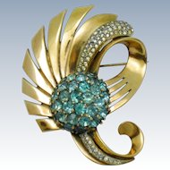 Gorgeous PENNINO STERLING Blue Crystal Vintage 1940s  Brooch Pin