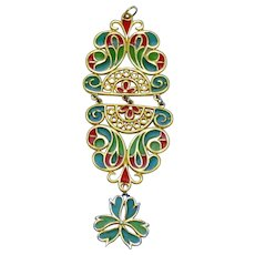 TRIFARI  Plique a Jour Stained Glass Pendant