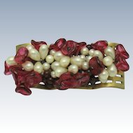 Vintage French  Poured Glass & Glass Pearl Flower Pin Brooch