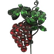 Signed SCHREINER  Grape Cluster Glass Cabochon Rhinestone Vintage Brooch Pin
