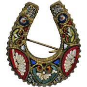 MADE IN ITALY Brass Back Micro-Mosaic Horseshoe Brooch Pin Signed