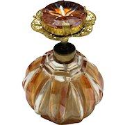 FRENCH Atomizer Perfume Bottle Art Glass Saphiret Filigree STAMPED