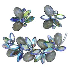 Gorgeous VENDOME Art Glass Rhinestone Brooch & Earring Set