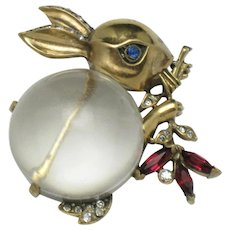 Vintage 1940s TRIFARI STERLING Alfred Philippe Jelly Belly Rabbit Brooch Pin