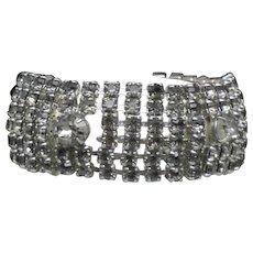 Signed WEISS Vintage 1950s Black Diamond Rhinestone Bracelet