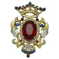 CROWN TRIFARI  Sterling A Philippe Moonstone Crown Shield Brooch Pin