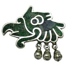 LOS CASTILLO Taxco Mexico STERLING Eagle Inlay Mosaic Brooch Pin