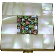 EVANS Rhinestone Jeweled Mother of Pearl Powder Compact with Pouch