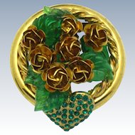 French Made in France ROSSI BIJOUX Poured Glass Roses and Heart Figural Brooch Pin