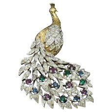 PANETTA Vintage Rhinestone Gold Plated Peacock Brooch Pin
