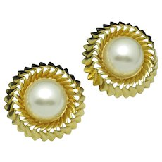 CHANEL France  Gold Plated Large Faux Pearl Haute Couture Clip Earrings