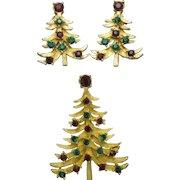 Classic Vintage MYLU Christmas Tree Brooch Earring Set