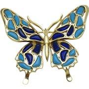 Vintage 1960s CROWN TRIFARI Modern Mosaics Butterfly Figural Brooch