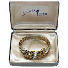 TRIFARI Pat Pend Vintage 1950s Clamper Bracelet Rhinestone - Original Box