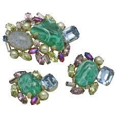 ALICE CAVINESS Vintage  Brooch and Earrings Art Glass Rhinestone Pearl Demi Parure Set