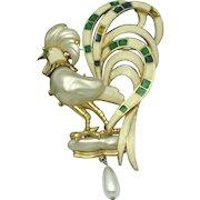 Vintage Signed HATTIE CARNEGIE Figural Rooster Brooch and Pendant RARE