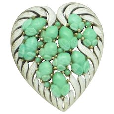 CROWN TRIFARI  Fruit Salad Heart Shaped Turquoise Glass Brooch Pin