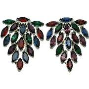 ART DECO  Dress Clips Ruby Sapphire Emerald Rhinestone Pot Metal